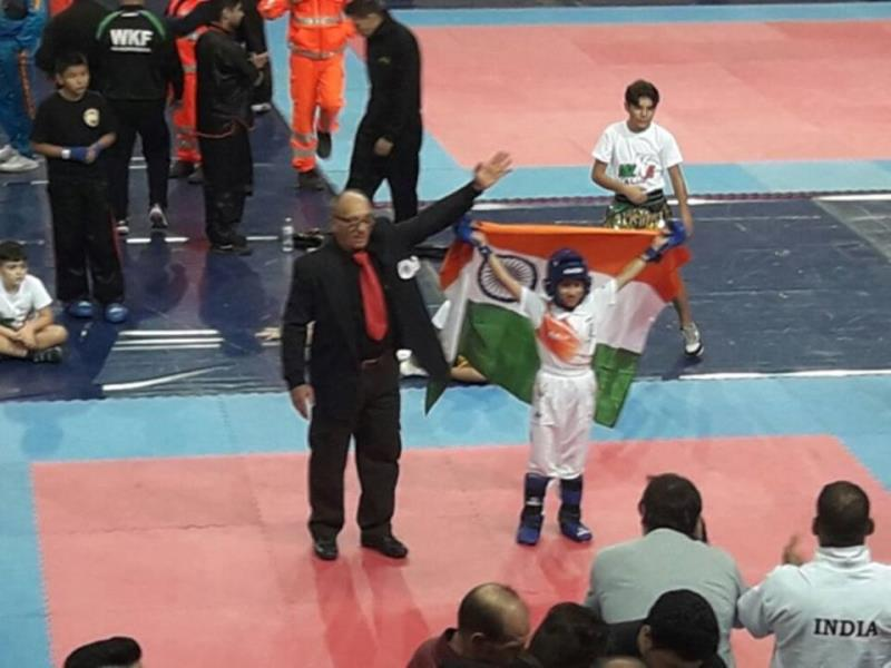 """Jewel in the Crown"" Miss Tajamul Islam, 7 year old talented little brave heart studying in class II of Army Goodwill School, Bandipora, created history when she bagged ""Gold Medal"" in final match of World Sub Junior Kickboxing Championship held at Andriana, Italy on 09 November 2016."